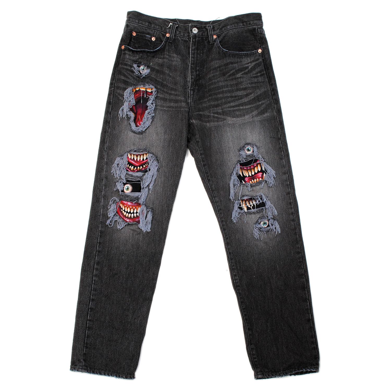 Black Recycle Denim Monster Repair Pants