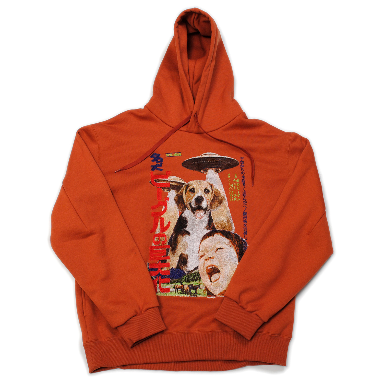 Brown Retro Poster Embroidery Hoodie