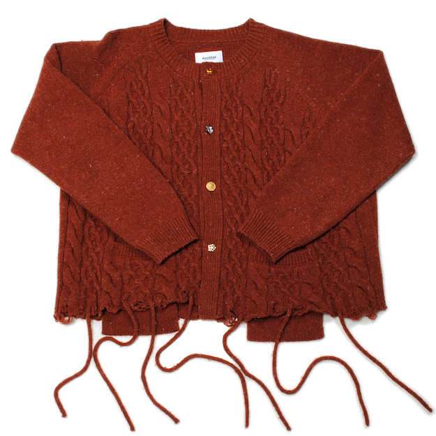 Brown Recycle Wool Cable Cardigan