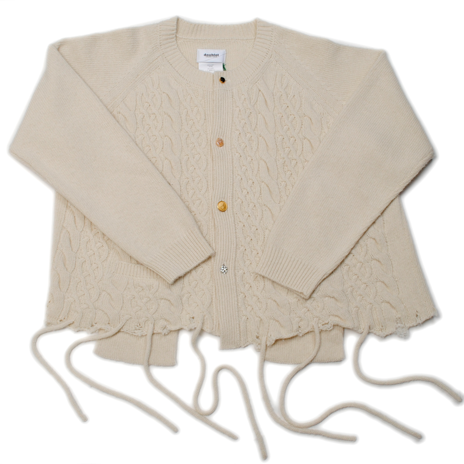 Ivory Recycle Wool Cable Cardigan