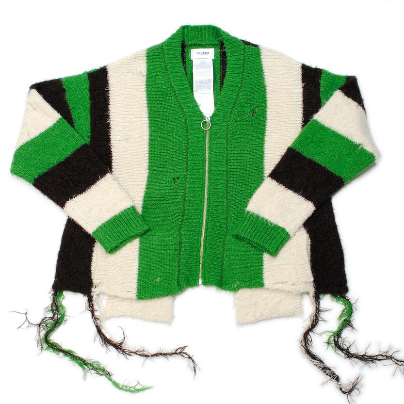 Green Zip Up Stripe Cardigan
