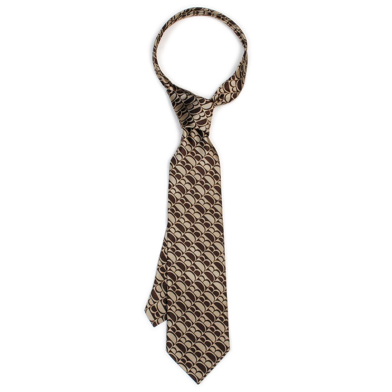 Beige Shape Memory Monogram Necktie